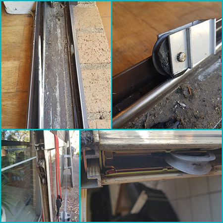 sliding doors damaged track rollers